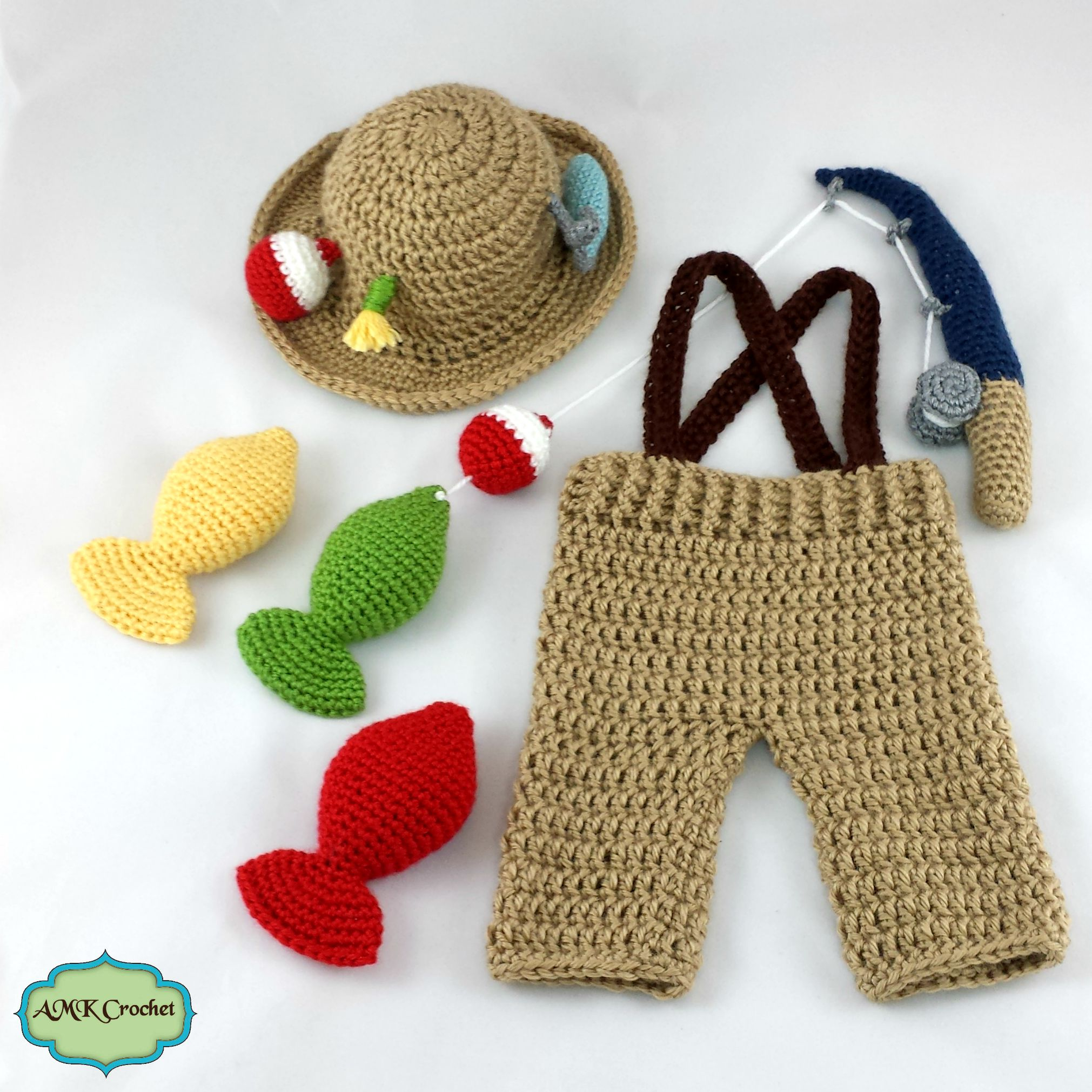 Crochet newborn fisherman outfit pattern amk crochet for Toddler fishing hat