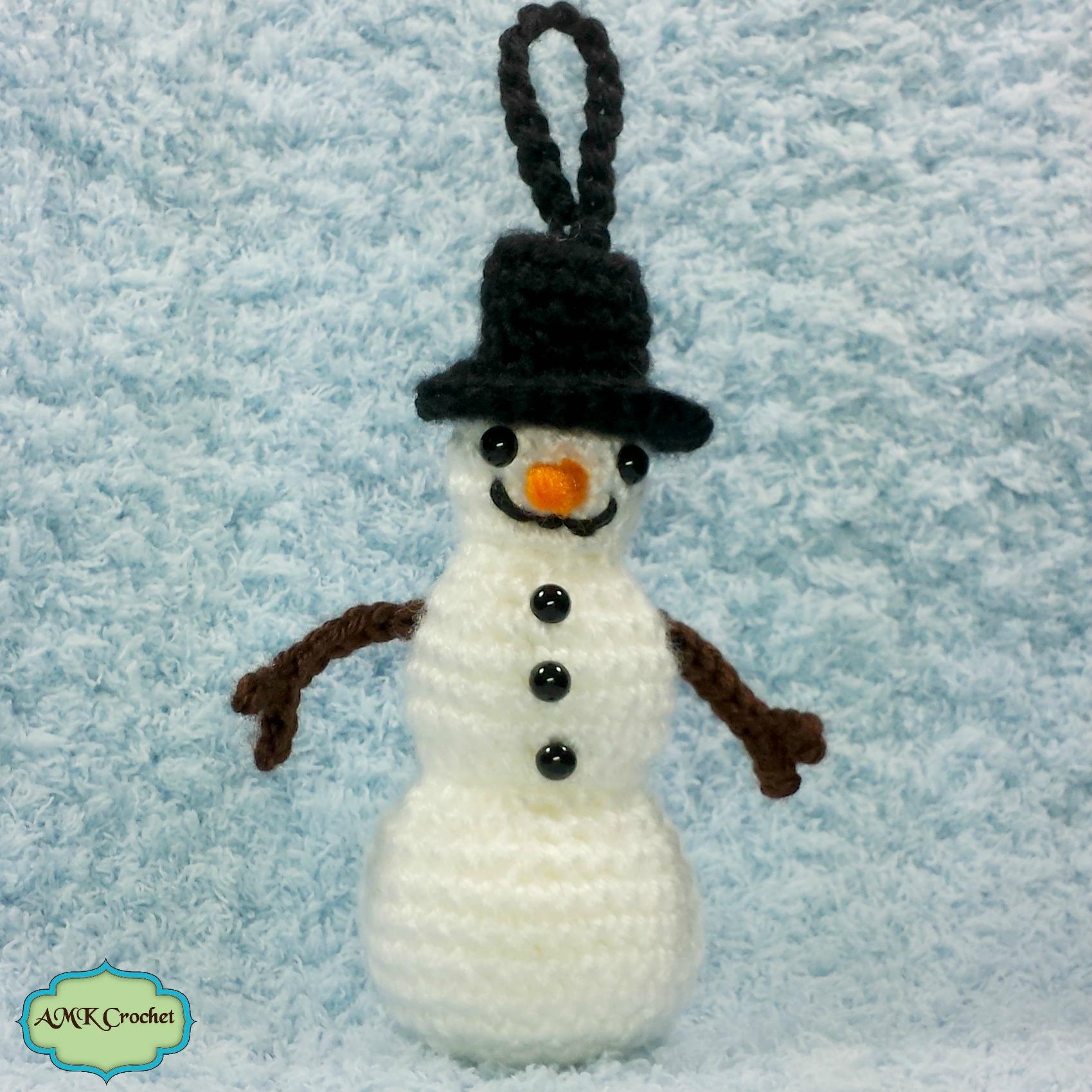 Free Crochet Snowman Ornament Pattern by AMKCrochet.com