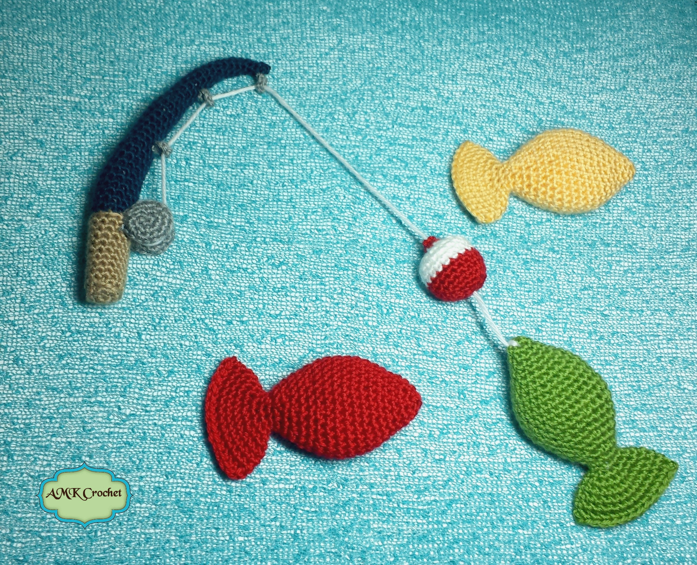 crochet fishing pole with bobber and amigurumi fish pattern amk crochet. Black Bedroom Furniture Sets. Home Design Ideas