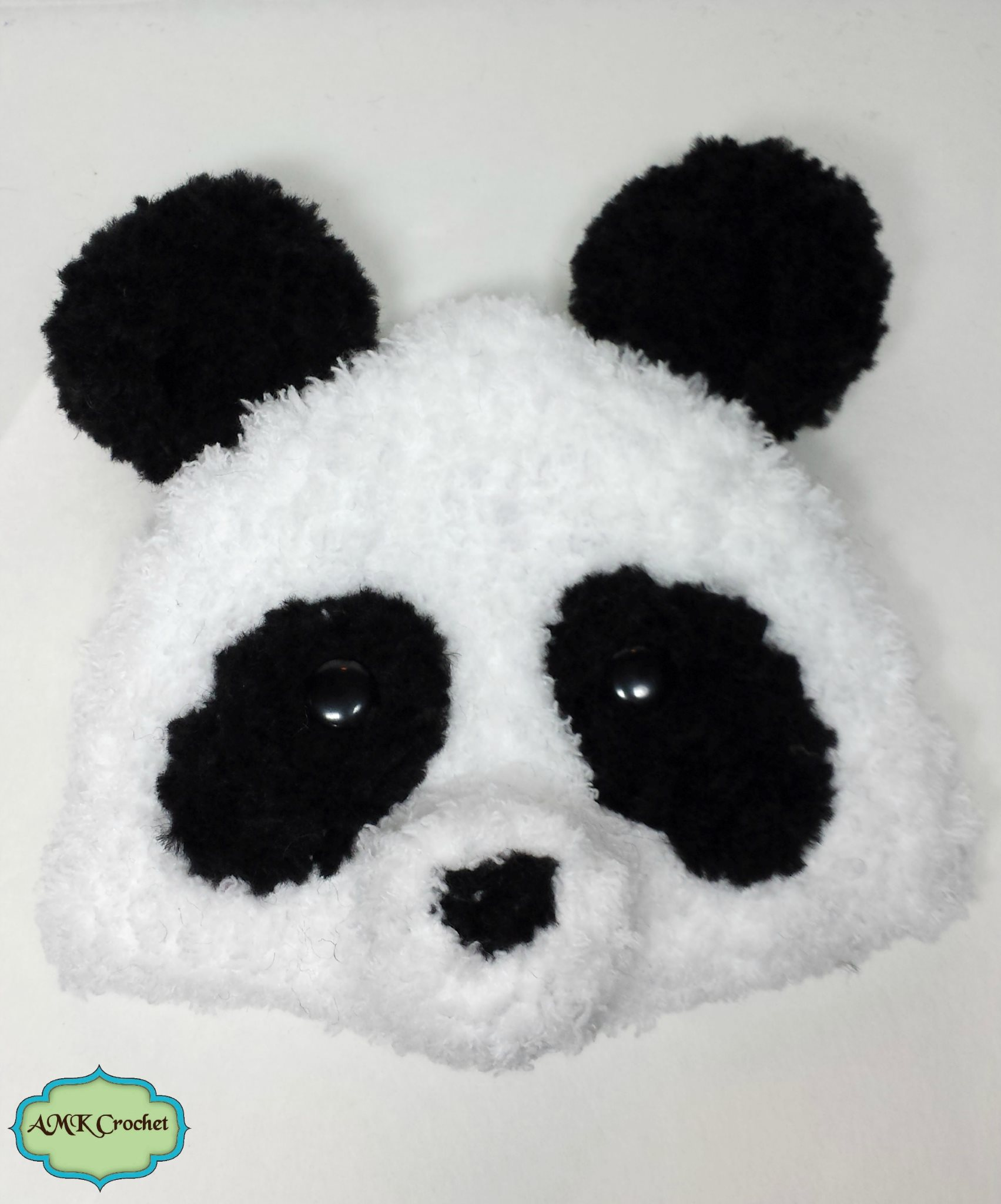 Crochet Newborn Fuzzy Panda Hat And Diaper Cover Set With