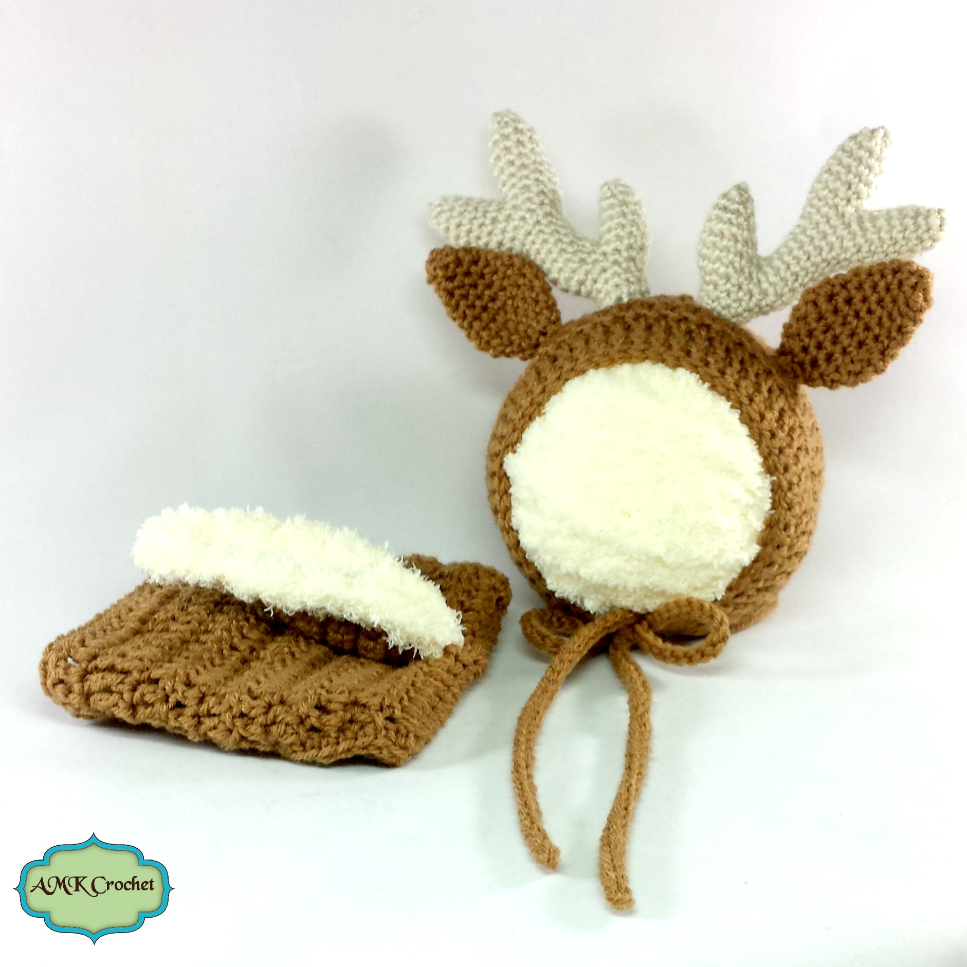 Free Crochet Deer Diaper Cover Pattern : Newborn Deer Hat and Diaper Cover, Deer or Reindeer Outfit ...