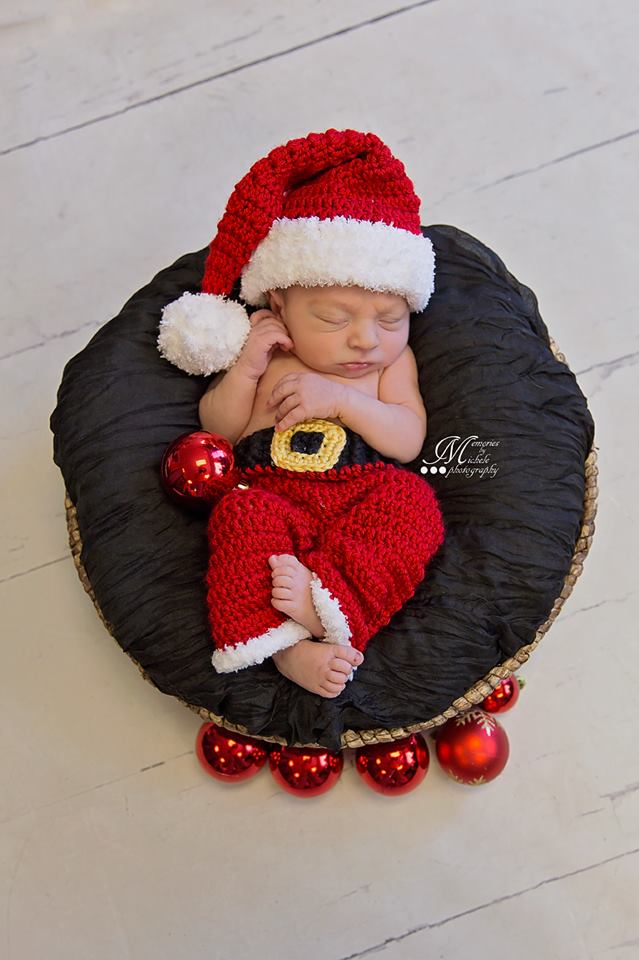 Crochet Newborn Santa Hat and Pants Pattern | AMK Crochet