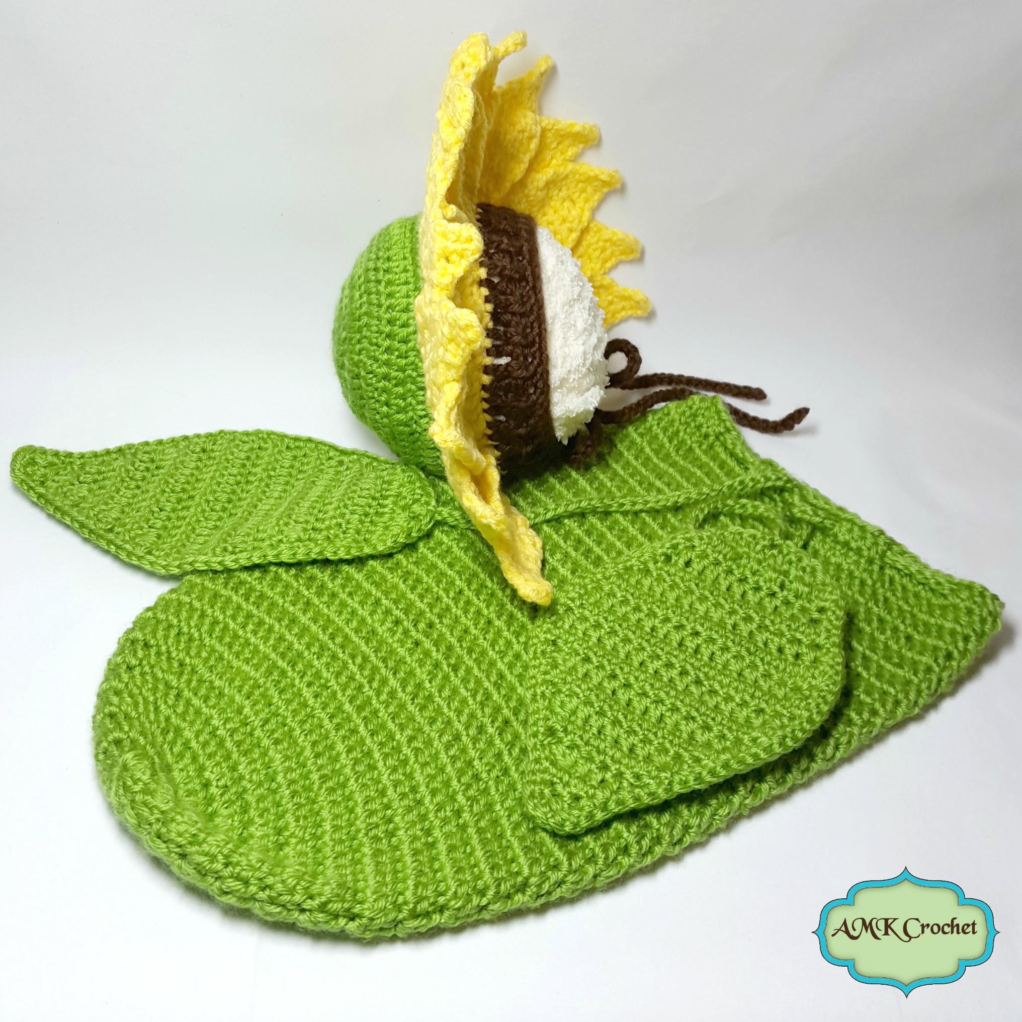 Crochet Newborn Sunflower Photo Prop Pattern AMK Crochet