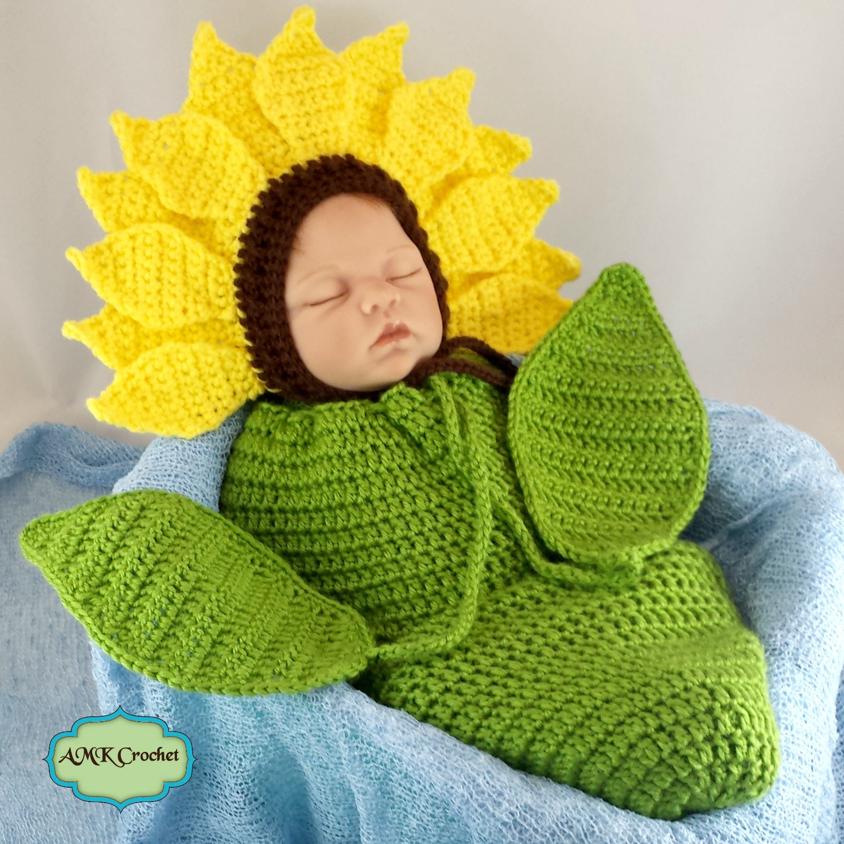 crochet newborn sunflower photo prop pattern amk crochet. Black Bedroom Furniture Sets. Home Design Ideas