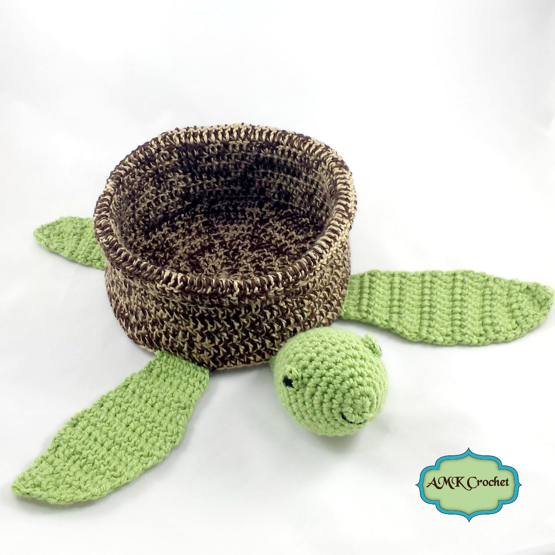 Crochet Baby Sea Turtle Basket Pattern | AMK Crochet