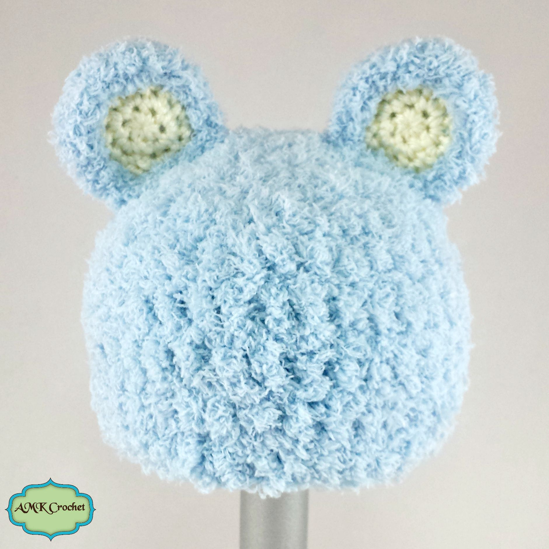 Free Crochet Newborn Bear Hat Pattern | AMK Crochet