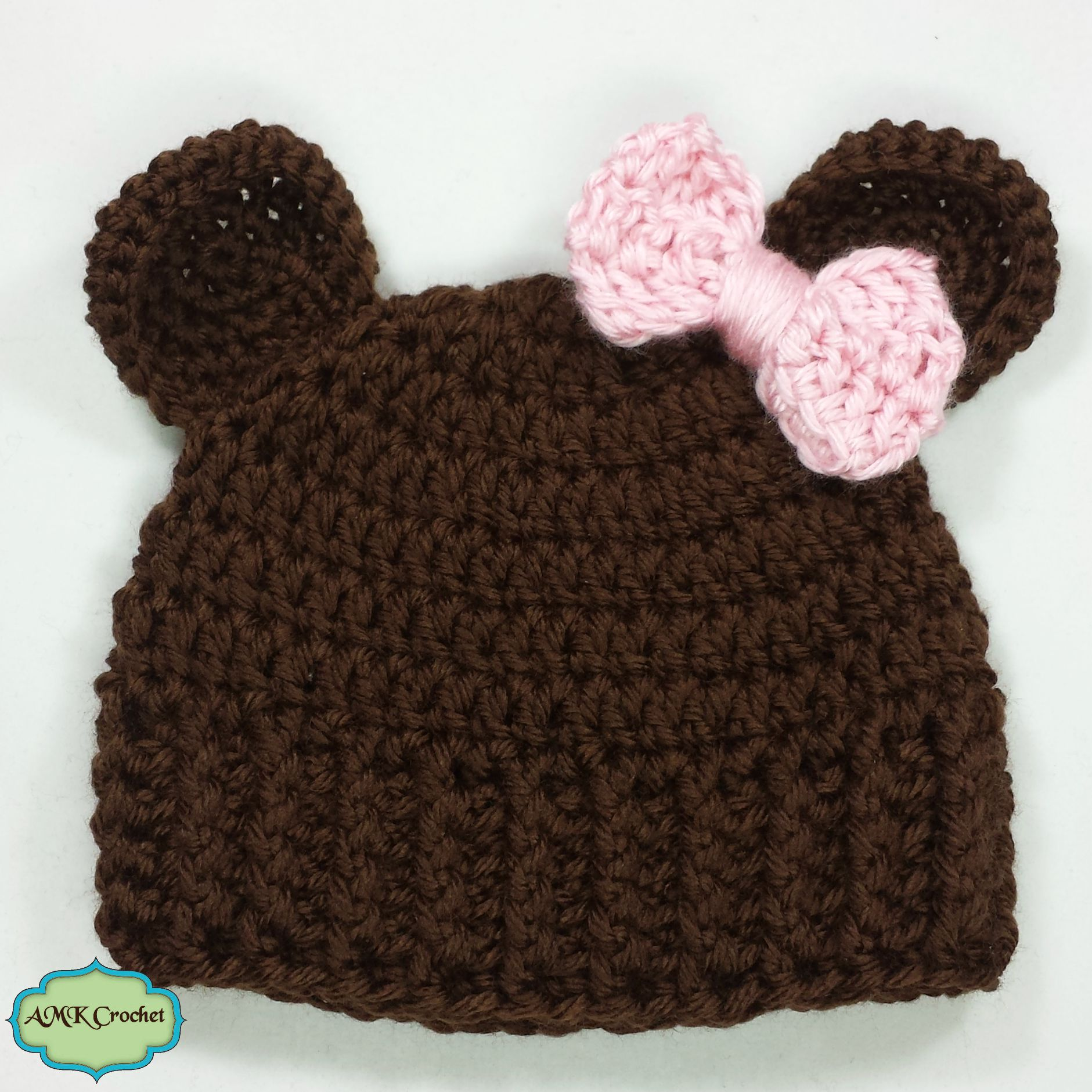 Free Crochet Baby Girl Newborn Bear Hat | AMK Crochet