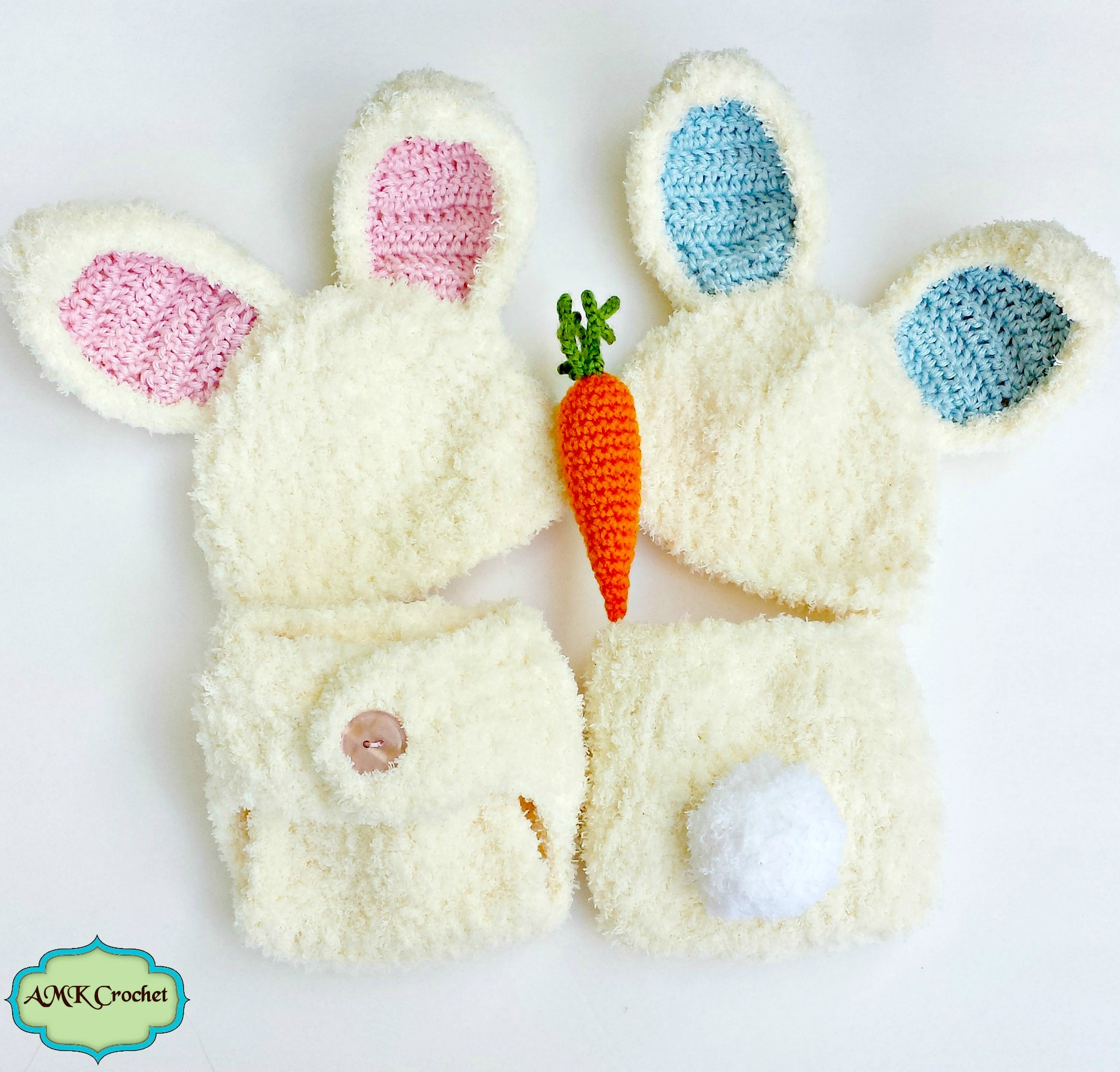 Crochet Newborn Fuzzy Bunny Hat And Diaper Cover Set With Amigurumi